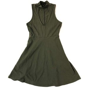 Express Green Mock Neck Sleeveless Dress
